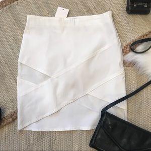 TOBI White Mini Skirt Mesh Panels Small